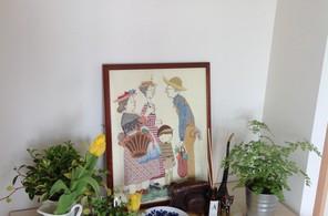 おばあちゃんて作り刺繍絵